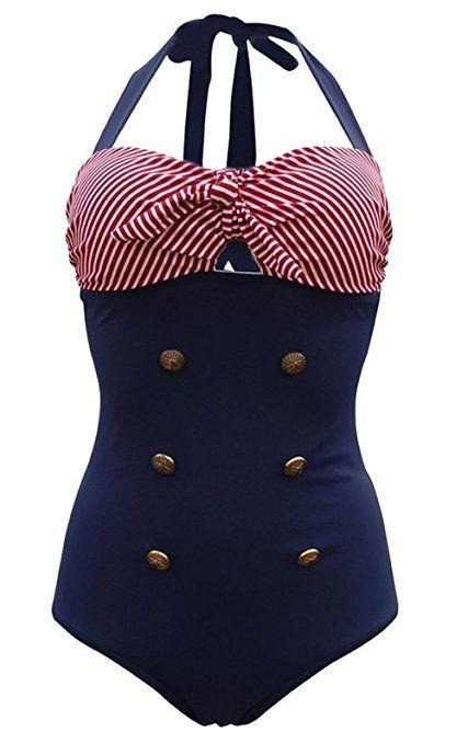 size 40 d111d ae04a Frauen 50's Vintage Damen Retro Bandeau One Piece Bademode ...