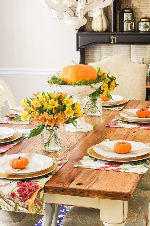 Colorful Fall Tablescape Home Tour Part 2 Fall  Thanksgiving