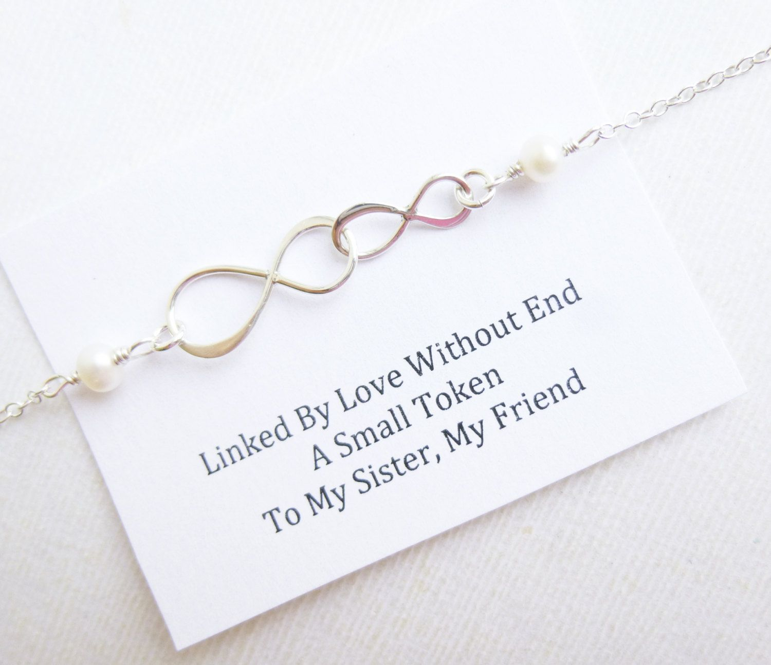 Sterling silver two linked infinity symbols bracelet with sterling silver two linked infinity symbols bracelet with sisters message buycottarizona Choice Image
