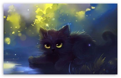 Cats Fantasy Hd Desktop Wallpaper Widescreen Black Cat Painting Cat Painting Black Cat Art