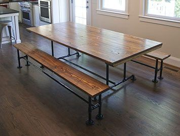 Industrial Dining Tables Solid Wood With A Modern Flare Emmor Works In 2020 Industrial Dining Table Dining Table Industrial Dining