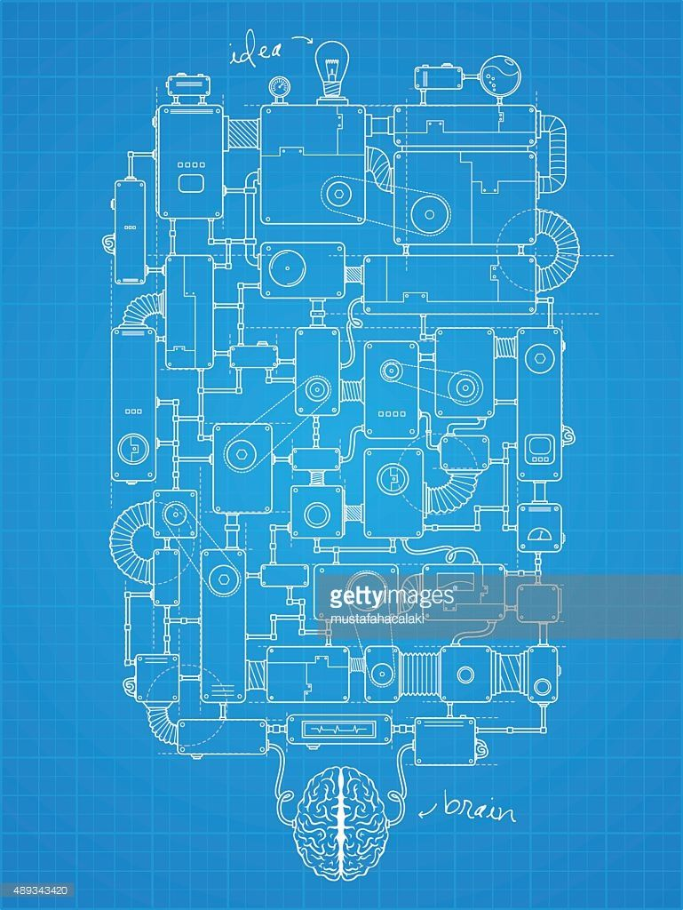 Blueprint of big idea machine project. All design elements