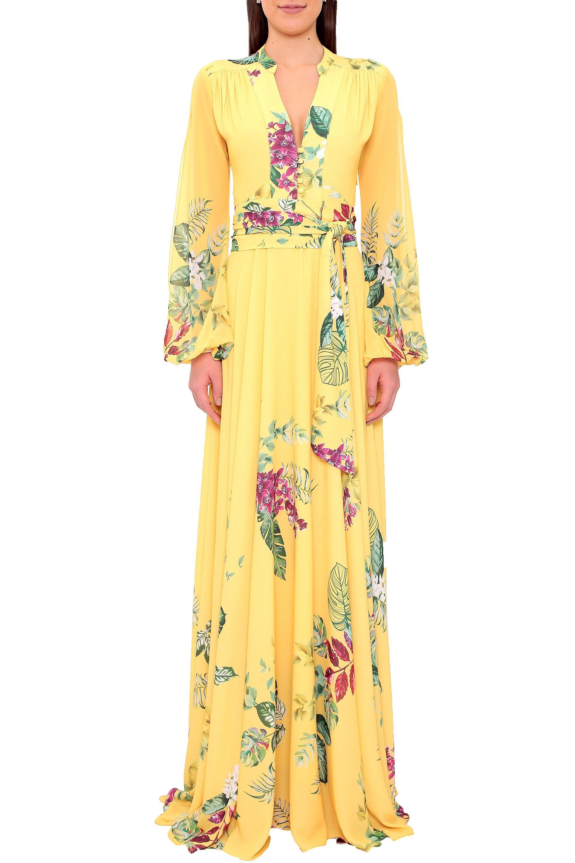 6f1355b43c67 Vestido Longo Floral Crepe Orquídea - Amarelo | Amissima | A em 2019 ...