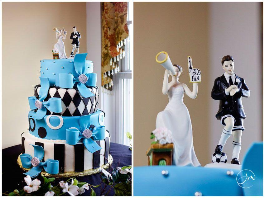 Funky Wedding Cake Blue And Black Soccer Topper Bride 1 Fan