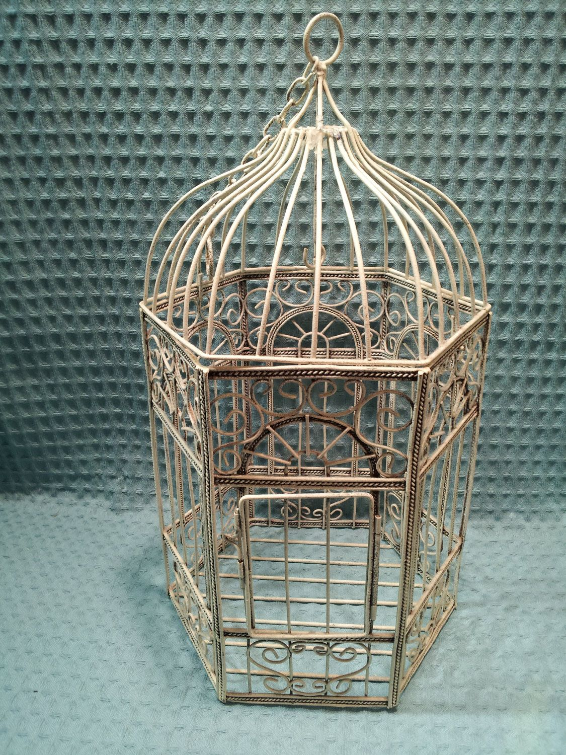 Bird Cage White Scroll Dome Wire House Hanging Planter Candle Holder ...
