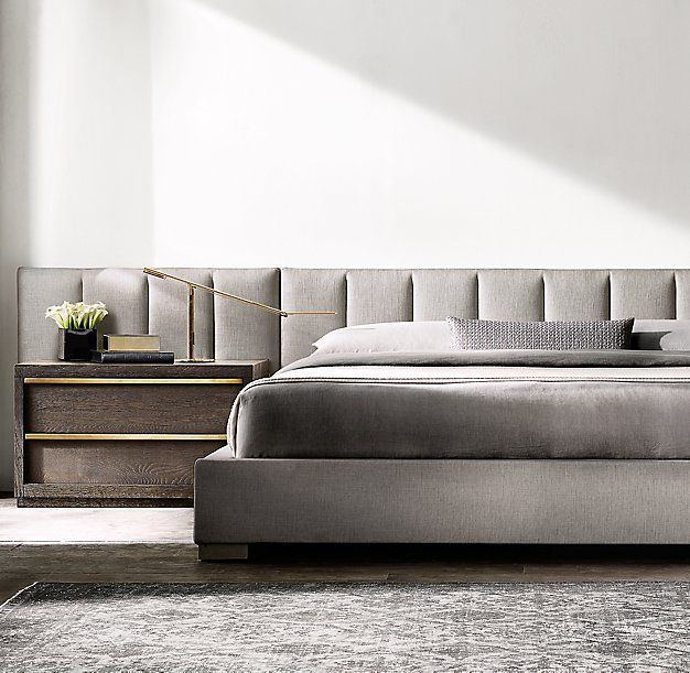 Best Modena Vertical Channel Extended Headboard Fabric Platform 400 x 300