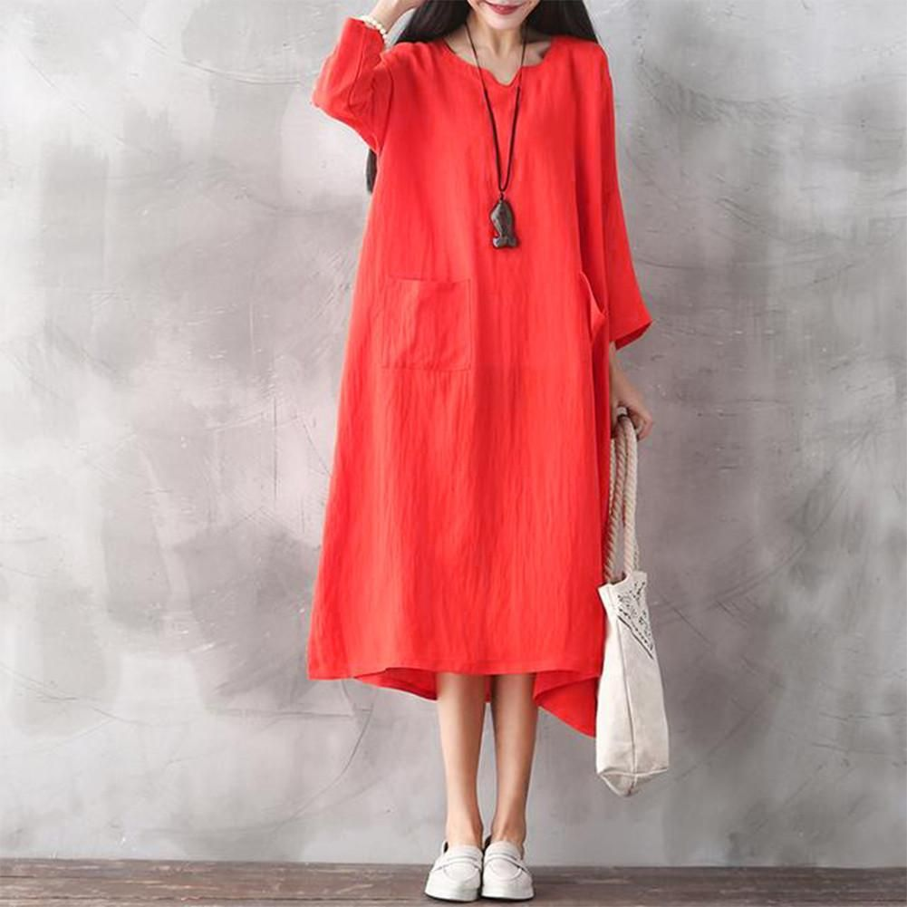 59ffd024d7d Oversized Women Retro Dress Casual Loose Long Dress Pockets Solid Plus Size  Dress Black Red