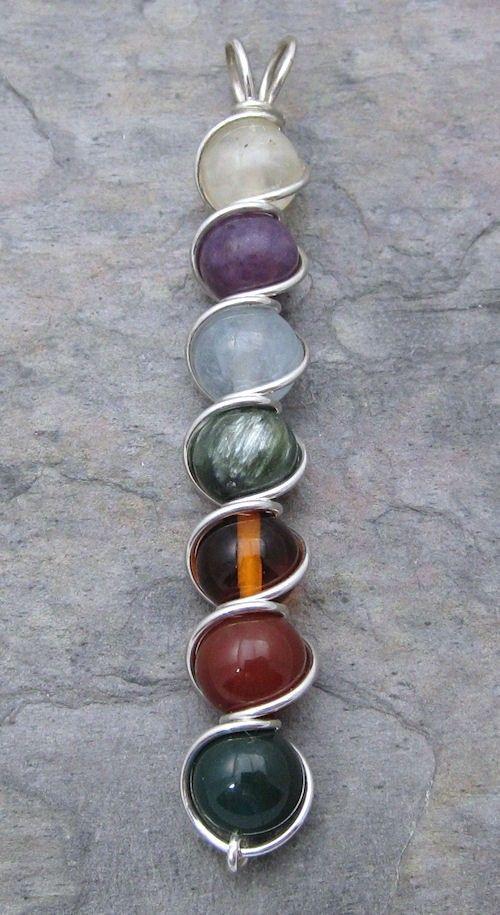Multi-Stone Chakra Sterling Silver Wire Wrapped Pendant Version 2 ...