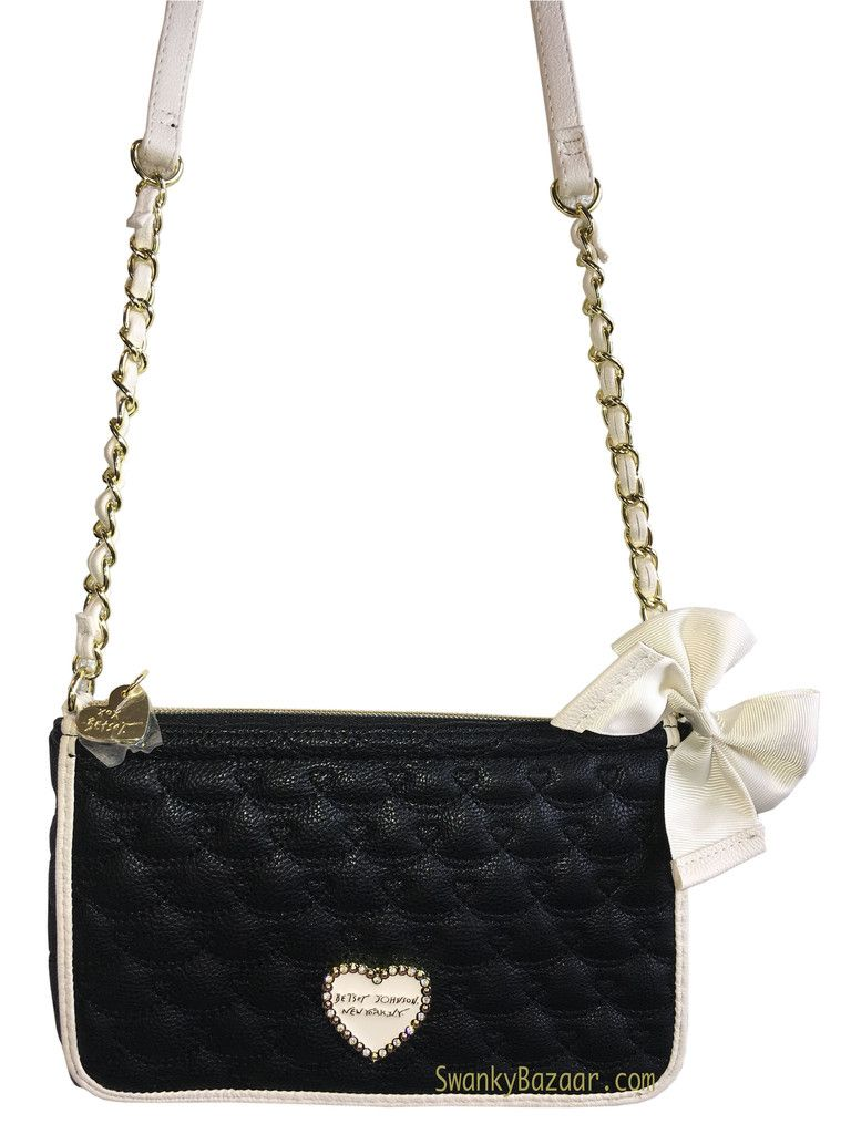 Betsey Johnson Quilted Hearts Black E W Crossbody Chain Strap Bag With Bow