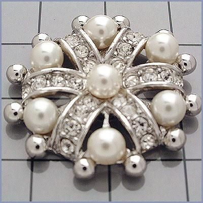 ORNATE CRYSTAL PEARL BUTTONS IN SILVER OR GOLD