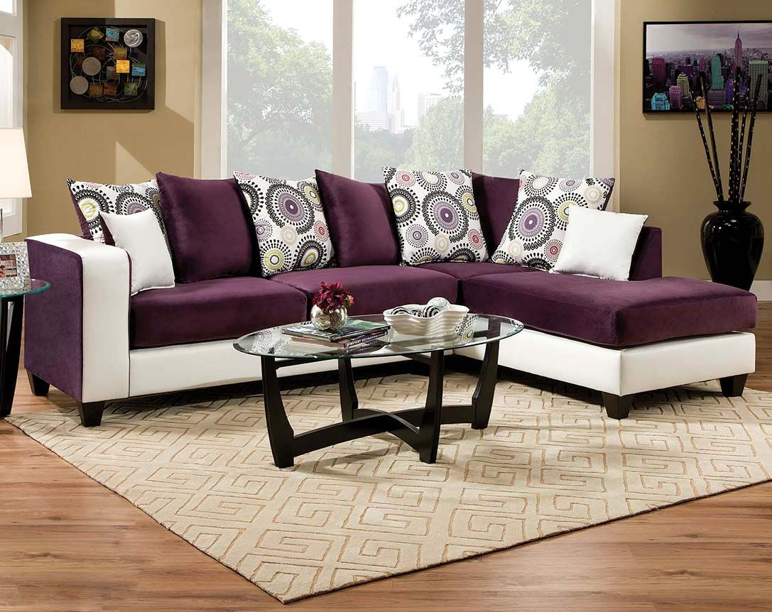 Best Striking Two Toned Couch Chaise Implosion Purple 2 Pc 640 x 480