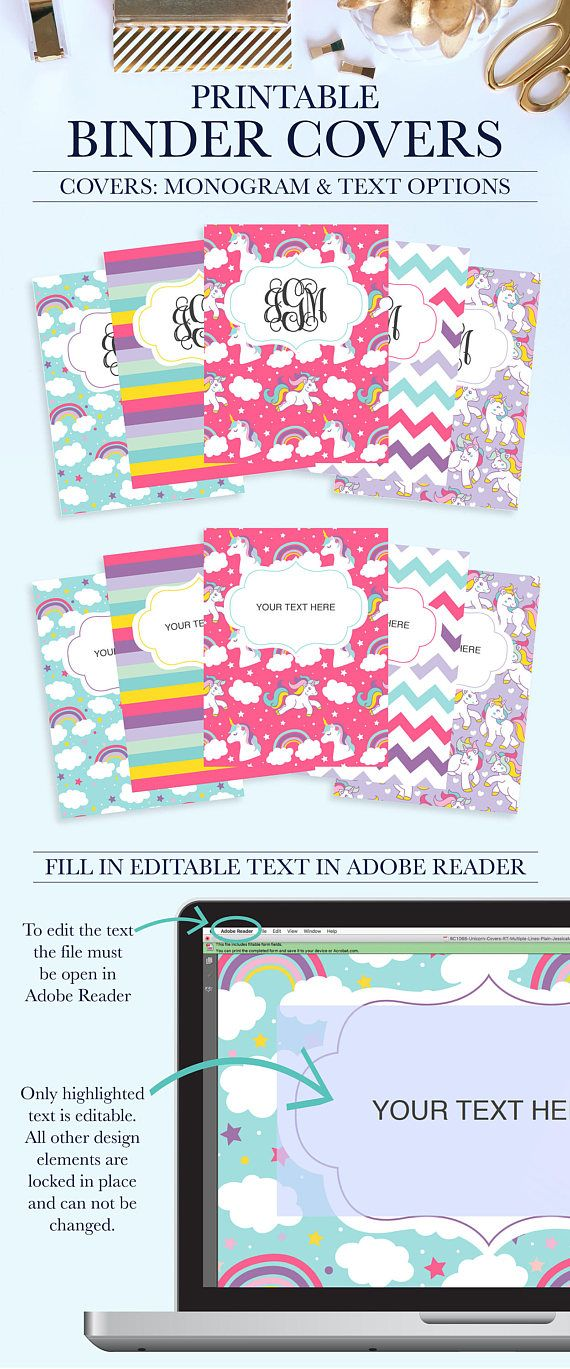 Cute School Binder Covers and Spines Printable, Pink Personalized