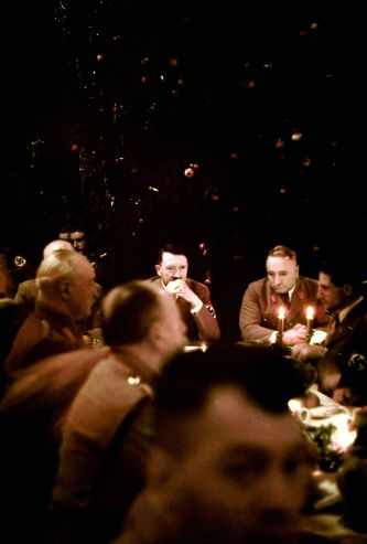 Scene from a Christmas party in Munich thrown by Adolf Hitler for his generals, 1941.