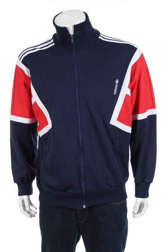 b684e5d42 Vintage 90s Adidas Trefoil Tracksuit top jacket Color Block Spell Out Navy  Blue/Red/White Size L
