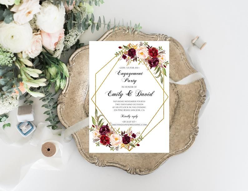 Burgundy Flowers Engagement Party Invitation Fully Editable Text Merlot Engaged Announcement Template Marsala Invitation 032 Floral Wedding Invitations Printable Flower Wedding Invitation Blue Wedding Invitations