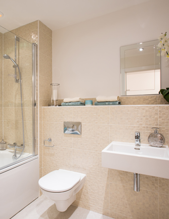 superior quality bathroom with beige engraved-looking