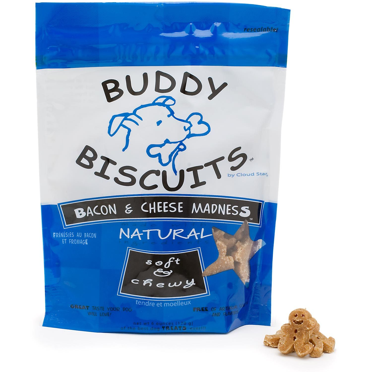 Moist buddy biscuits are easy to break into small pieces