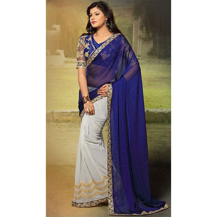 http://www.thatsend.com/shopping/lp/fvp/TESG159142/i/TE209126/iu/blue-chiffon-traditional-saree  Blue Chiffon Traditional Saree Apparel Pattern Embroidered. Work Embroidery. Blouse Piece Yes. Occasion Diwali, Festive. Top Color Blue.