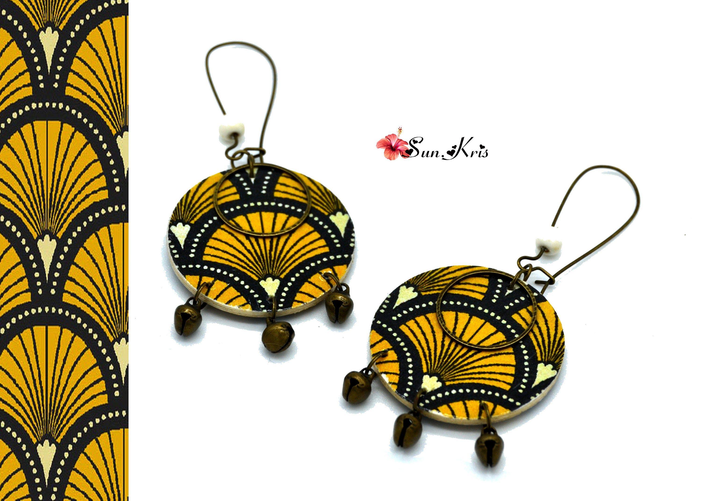 Boucles d'oreilles imprimé wax africain, jaune noir bronze, pendantes femme, Afrique ethnique, wax tribal arbre moutarde, bijoux automne