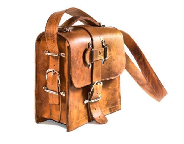 Supermarket: Rugged Leather Camera Bag - Indiana Jones Satchel Messenger Bag Tan Leather from Divina Denuevo