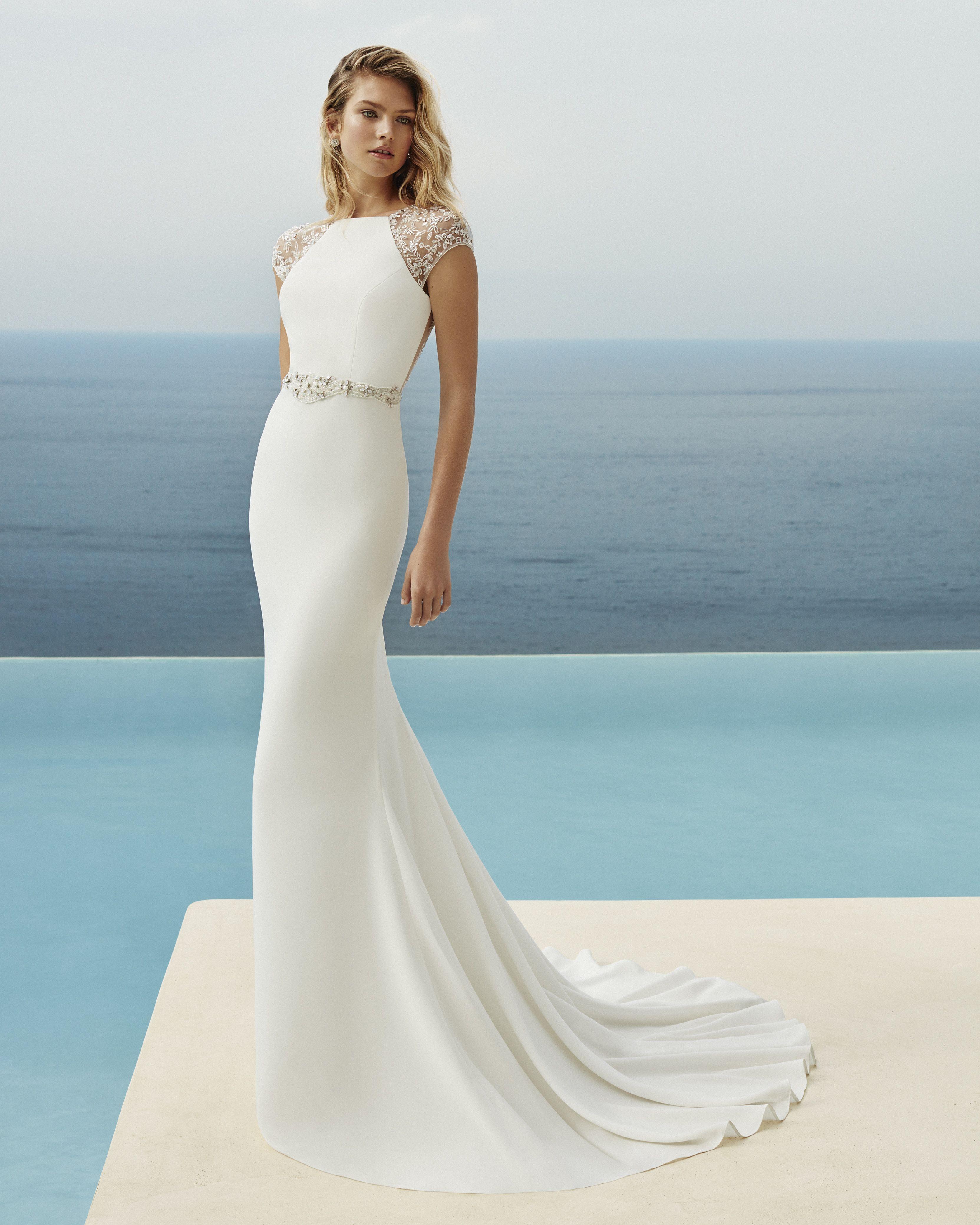 Sheath Style Wedding Dress In Beaded Crepe Bateau Neckline Short