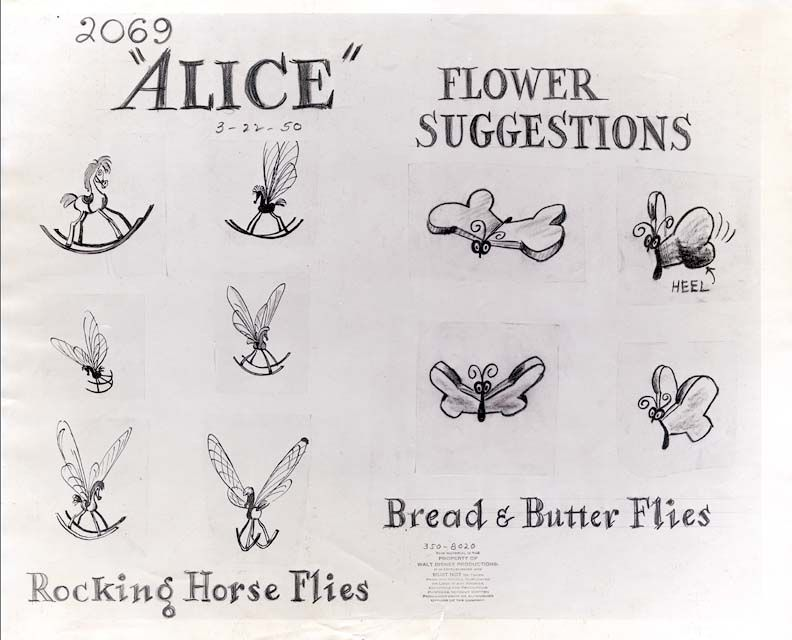 vintage disney alice in wonderland flower suggestions model sheet rocking horse flies and. Black Bedroom Furniture Sets. Home Design Ideas