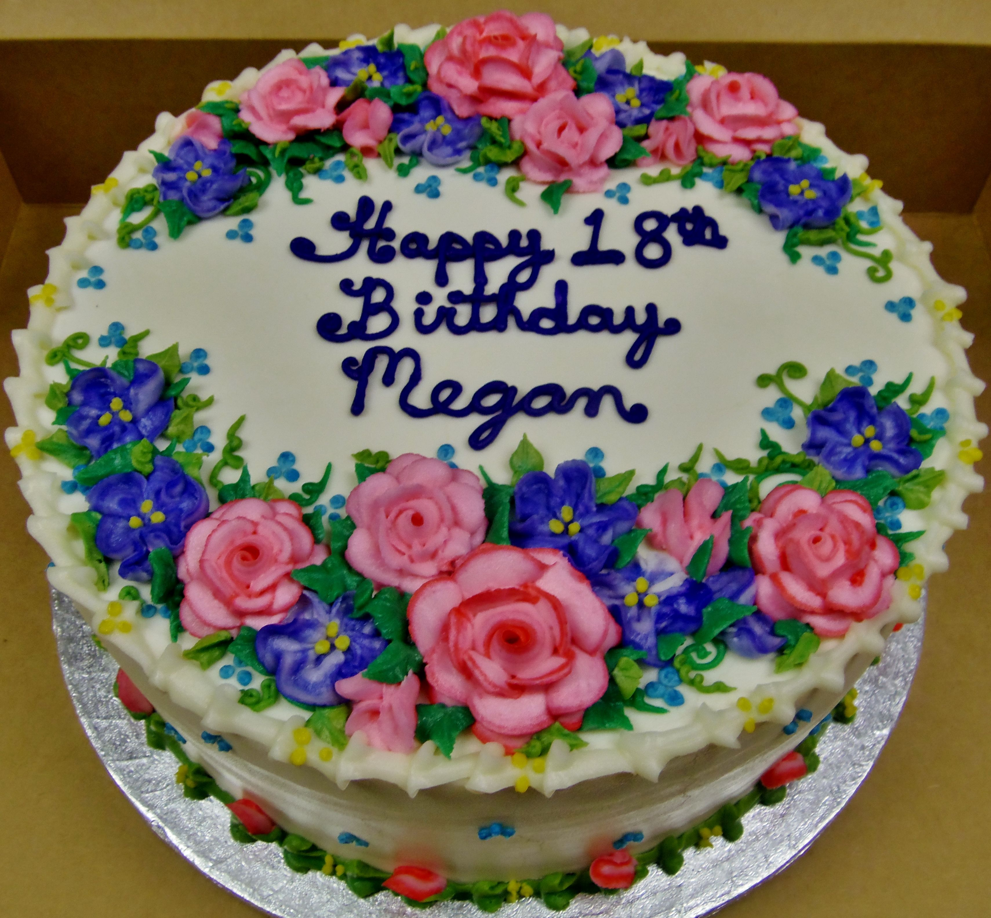 Buttercream Flowers On A 12 In Round Layer Cake For A Birthday Celebration Round Birthday Cakes Birthday Cake With Photo Floral Cake