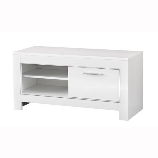 cool Lorenz Small TV Stand In White High Gloss With 1 Door