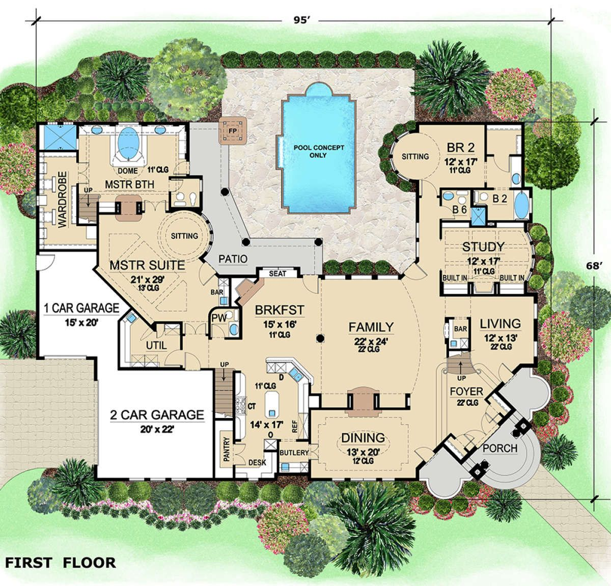 House Plan 5445 00295 Luxury Plan 5 889 Square Feet 5 Bedrooms 6 5 Bathrooms House Blueprints Luxury House Plans House Layouts