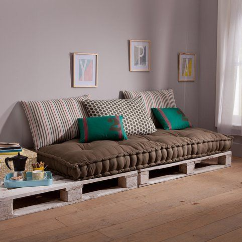 3 suisses matelas capitonn pour banquette army kaki. Black Bedroom Furniture Sets. Home Design Ideas