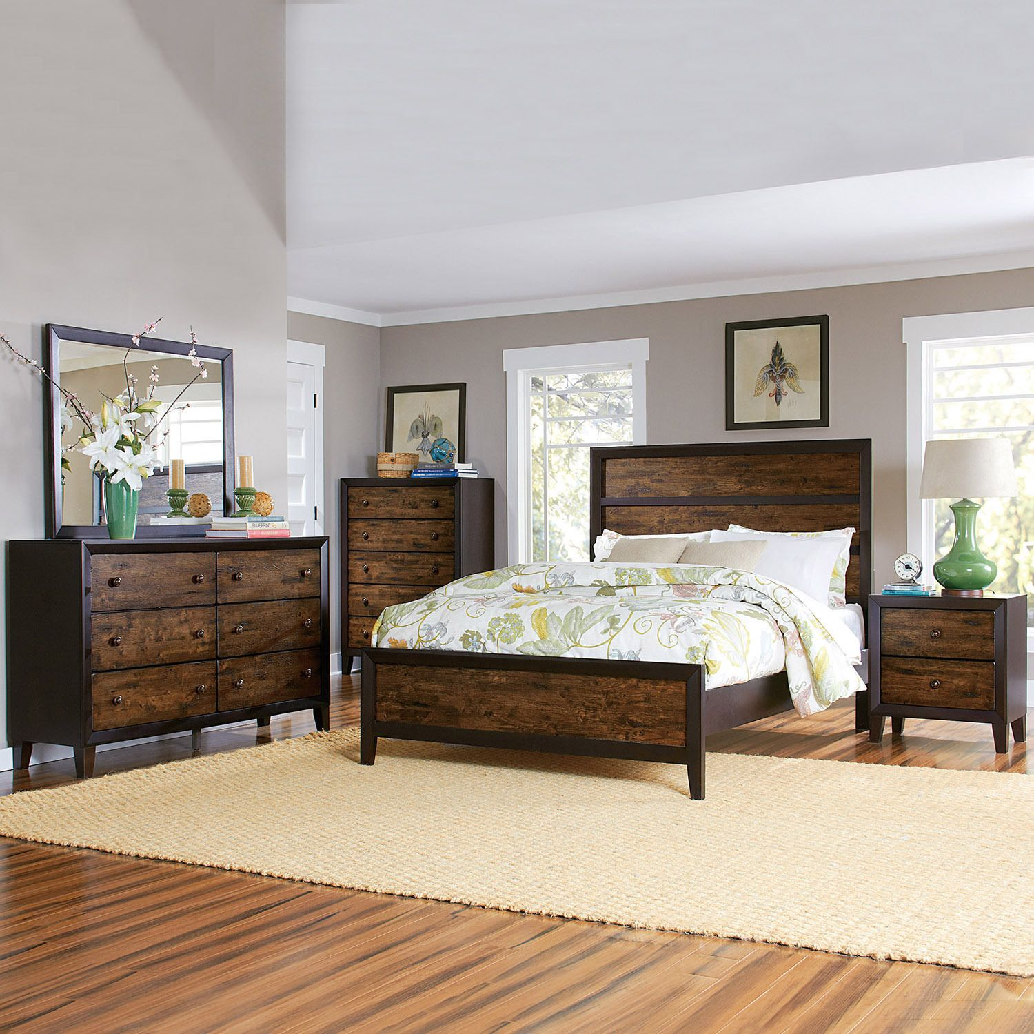 Draven espresso drifted oak piece bedroom set decor pinterest