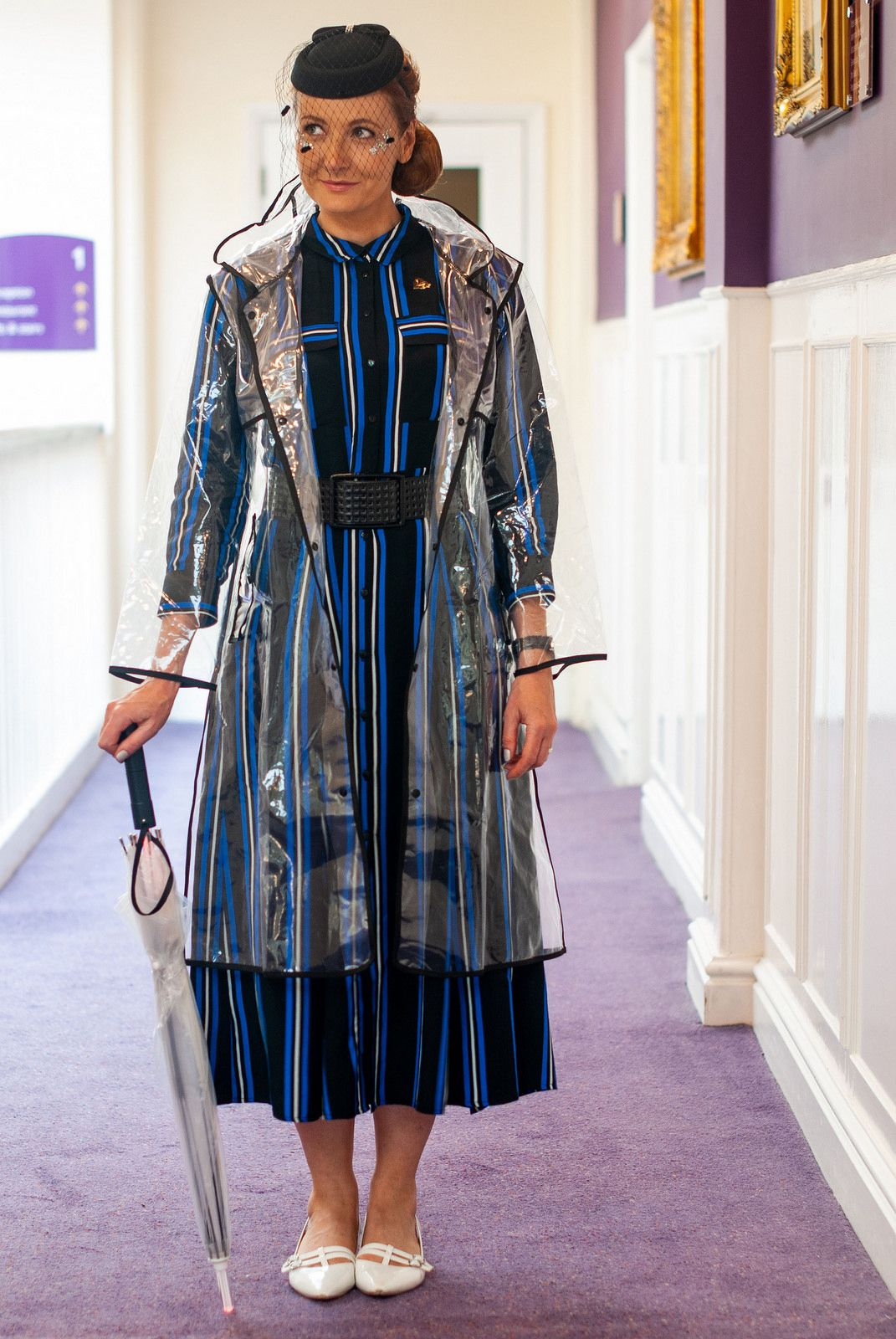 Futuristic 1940s Style Secret Cinema Blade Runner Costume Striped Shirt Dress With Pillbox Hat And Birdcage Veil 1940s Outfits 1940s Fashion Runner Costumes