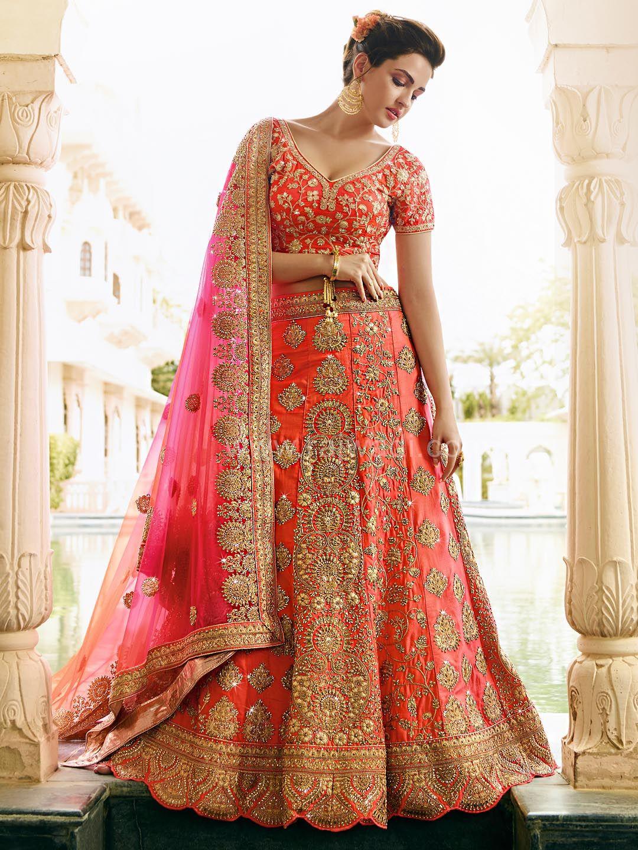 bd8d322726 Bridal Lehenga Choli in Hot Pink | Saree | Pink bridal lehenga, Silk ...
