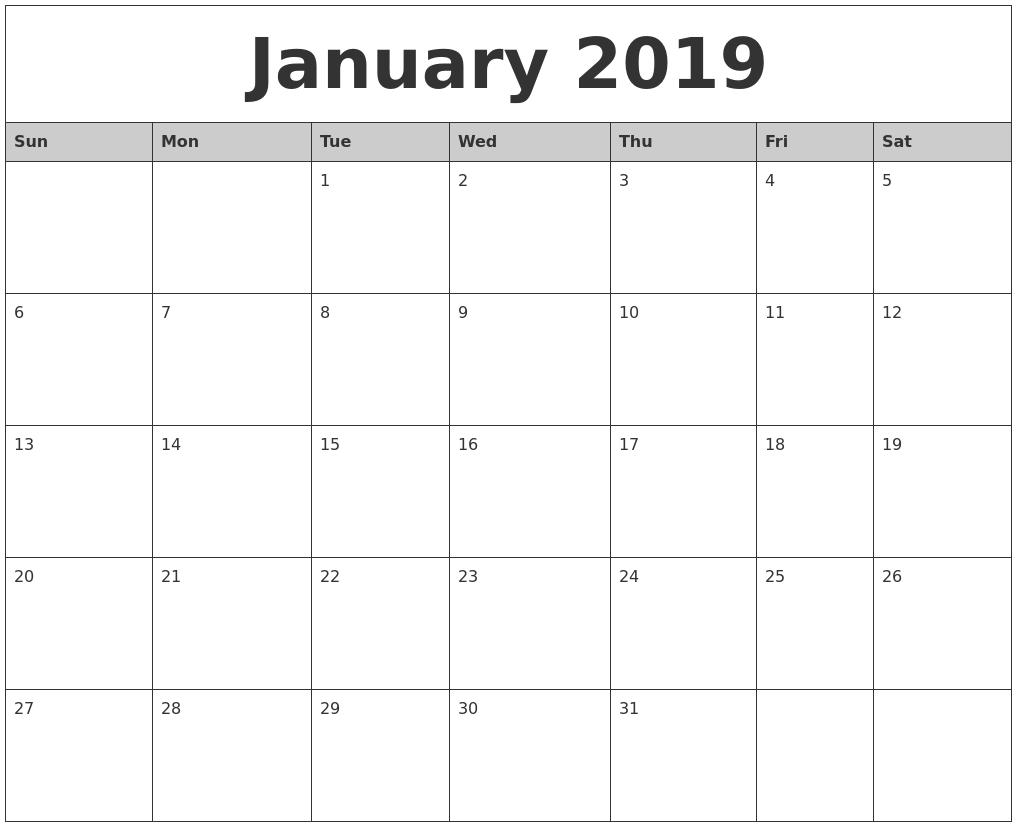 January Calendar 2019 Template With Holidays January 2019 Calendar