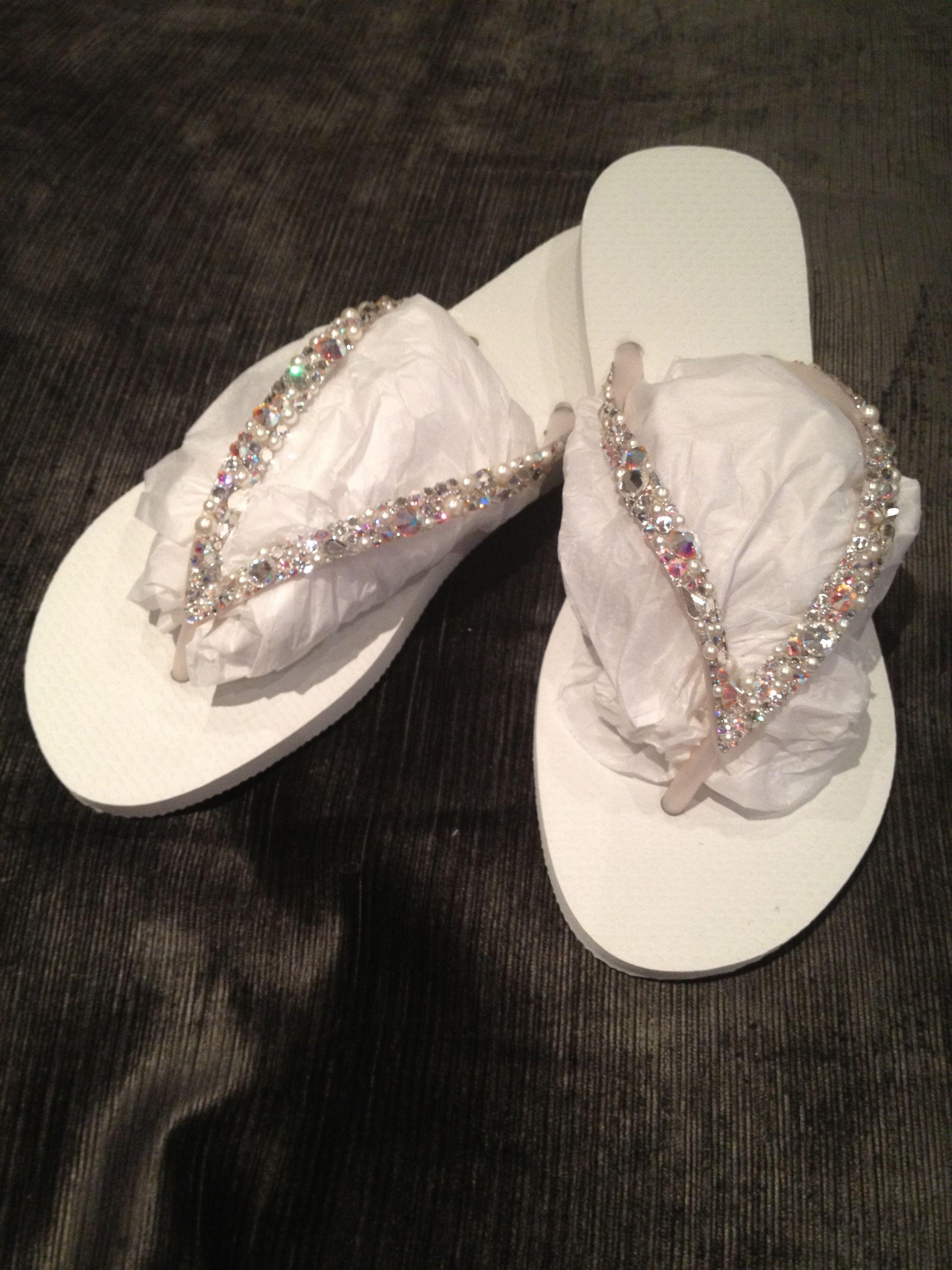 584d793de Swarovski Crystal White Wedding Flip Flops