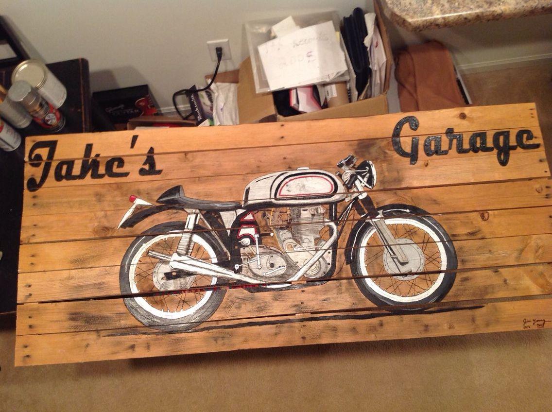 Vintage Motorcycle Painting