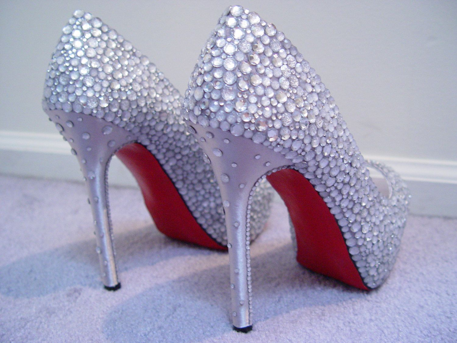 ff22d6a37d OHHH MYYYYY Hand Made Womens Christian Louboutin Style Rhinestone High Heel  Shoes W Red Painted Bottoms. $169.00, via Etsy.