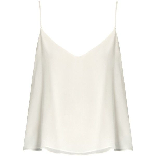 e67b0bf5ee Raey Deep V-neck silk cami top found on Polyvore featuring tops, ivory, silk  cami, white tank, white camisole, white cami and white silk tank top