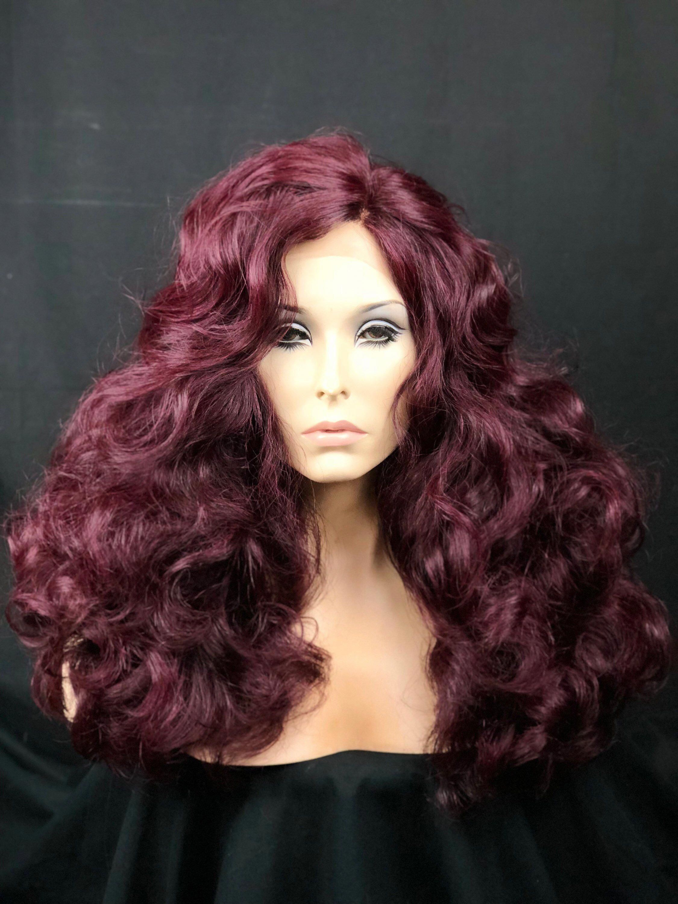 Burgundy wig curly wig long hair lace front wig
