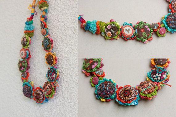 Crochet art necklace fiber jewelry with fabric от rRradionica