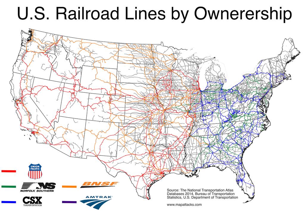 Map Of Railroads In The Us U.S. Railroads by Ownership | Us railroad map, Train map, Map
