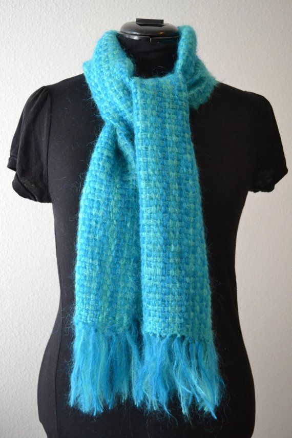 Super warm and soft mohair scarf. Perfect to keep warm in the winter. https://www.etsy.com/listing/228159428/handwoven-mohair-scarf-blue-and-green