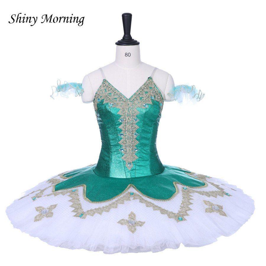 Adult Professional Ballet Platter Tutu Skirt Dance Dress Green Classic Costume