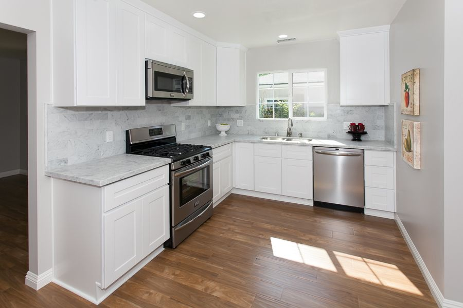 Best Beautiful Warm Wood Floors White Cabinets Stainless 400 x 300