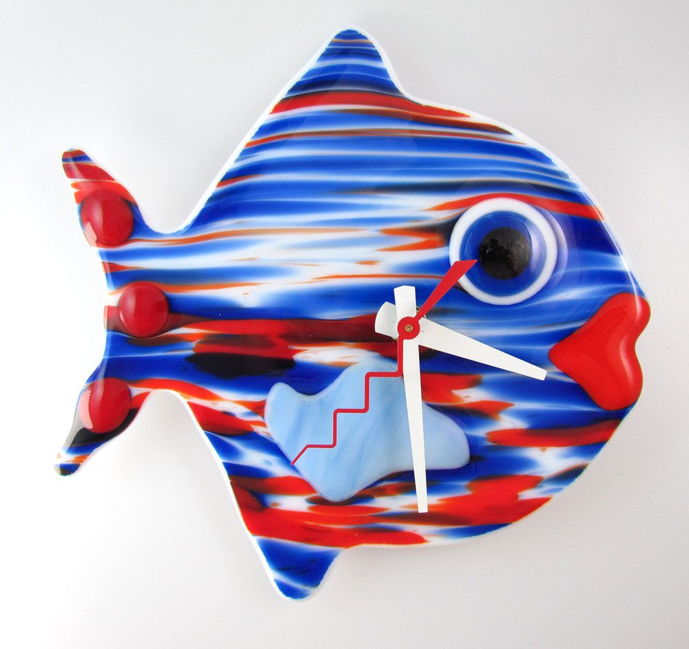 sam the fused glass fish wall clock battery operated on wall clocks battery operated id=12051