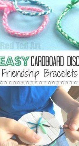 How to make Friendship Bracelets with a Cardboard Loom - easy yarn bracelets for kids. Great for road trips and summer camps! #easyfriendshipbraceletpatterns