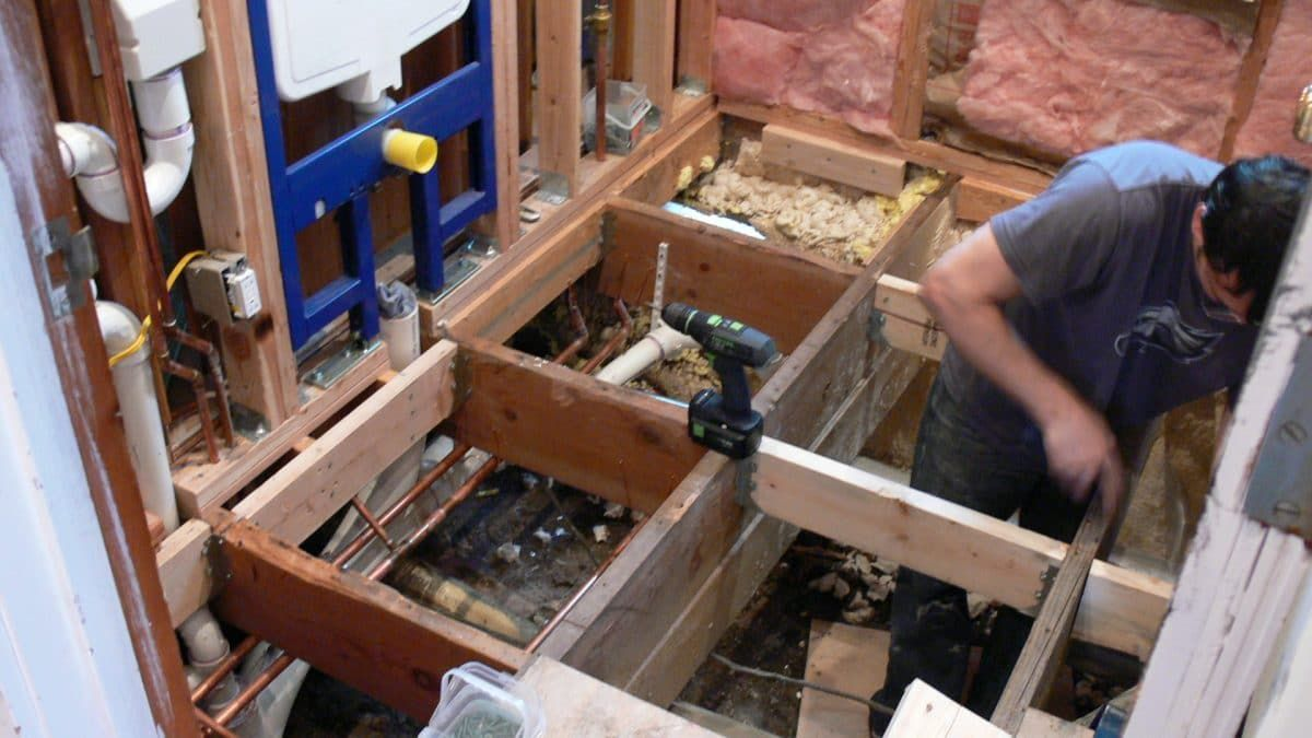 Reinforcing Floor Joists With Solid Wood Blocking Bathtub Shower Remodel Shower Remodel Shower Remodel Diy