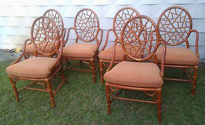 Set 6 Fine McGuire San Francisco Rattan Dining Chairs Vintage Cracked Ice  Design | EBay