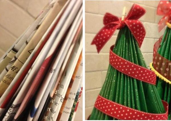 Rbol de navidad con revistas adornado con cintas se - Cintas para arbol de navidad ...