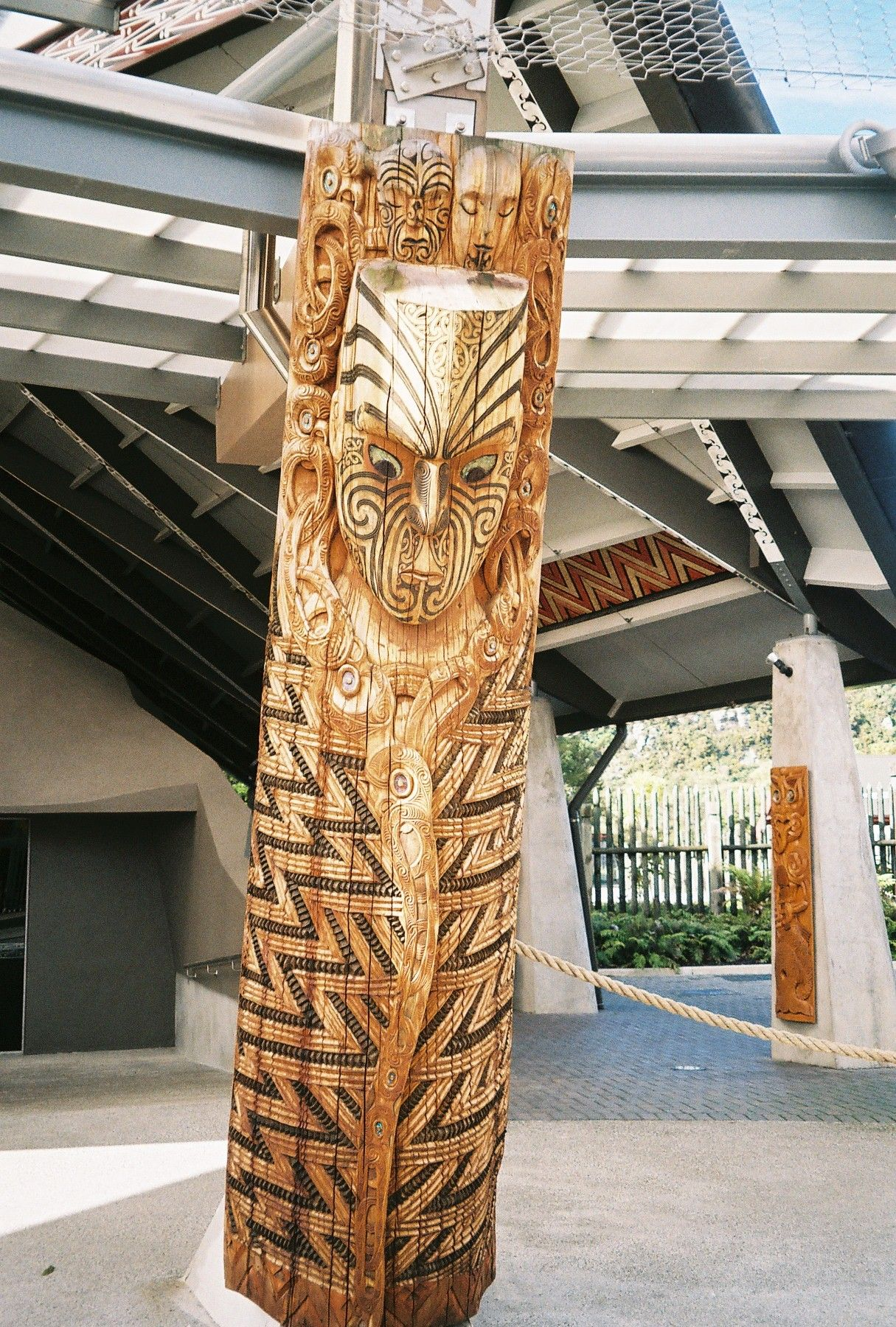Carving in TePuia Maori Cultural Center, Rotorua New Zealand